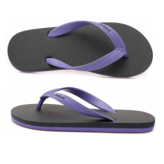 Kids' charcoal/purple organic thongs