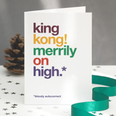 Funny King Kong autocorrect Christmas card