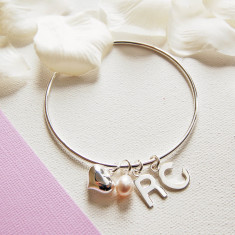 Personalised Silver Charm Bangle