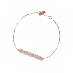 Pavé rectangle bracelet in18K rose gold vermeil