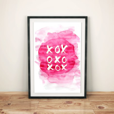 Kiss kiss hug hug watercolour art print