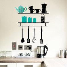 Kitchen shelves wall decal