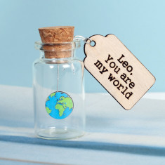 You are my world personalised message keepsake bottle