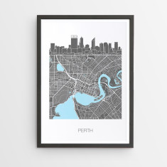 Perth skyline map print