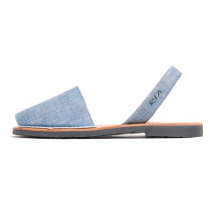 Fonti leather sandals in denim look