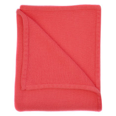 Wave knit luxury cotton baby blanket in coral