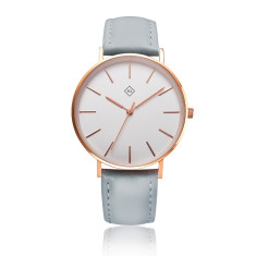 Engraved women's watch with interchangeable leather band (rose gold & grey)