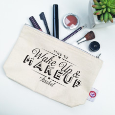 Wake up and makeup personalised makeup bag