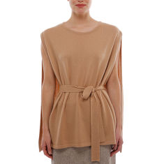 Cashmere belted cape poncho in camel