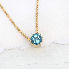 Blue Topaz Necklace in 18ct Gold, December Birthstone