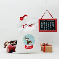 Christmas reindeer globe Santa sack