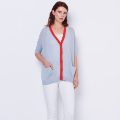 Cotton Cashmere Sheer summer cardigan - blue