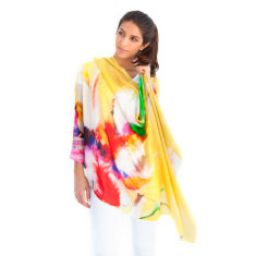 Cotton and Silk Printed Scarf, Yellow Feathers