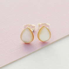 Teardrop white shell studs in sterling silver