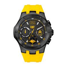 CAT NAVIGO MULTI dial Dual Time Watch in Gun Metal Stainless Steel & Yellow Rubber Band