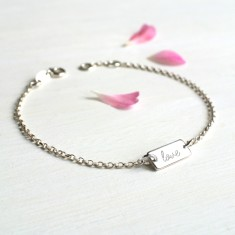 Personalised Sterling Silver Mini Bar Love Bracelet