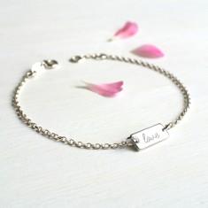 Personalised Sterling Silver Mini Bar Love Bracelet