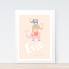 Girls' elephants birth prints (various colours)
