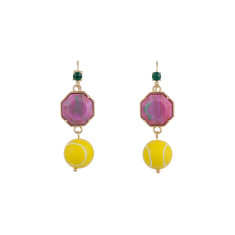 Tennis Ball And Colourful Stone Hook Earrings