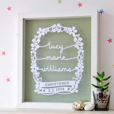 Personalised Christening Gift Papercut
