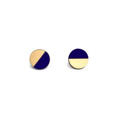 Circle half moon earrings in navy blue