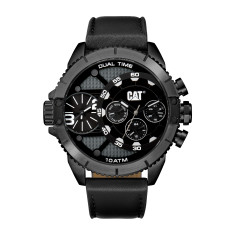 CAT DV series Dual Timer Watch in Gun Metal Black with Leather band plus FREE GIFT
