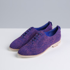 Roy blue and pink textured suede leather oxford shoes