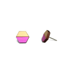 Hexagon half earring studs - neon purple