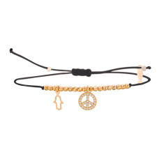 Mini peace bracelet with genuine cubic zirconia