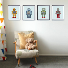 Robot nursery prints (set of four)