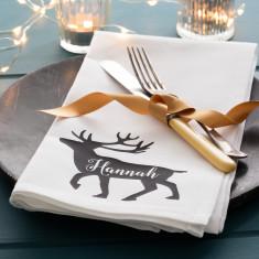 Personalised Reindeer Christmas Napkin