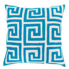 The Maze - hand loomed woollen cushion cover in torquoise