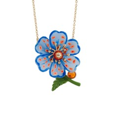Psychedelic spotted blue poppy necklace
