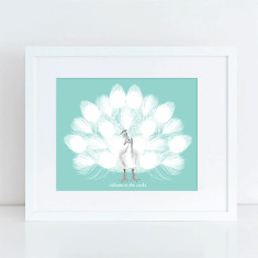 White peacock fingerprint guest book print