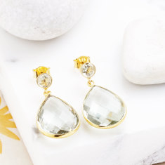 Sofia pear drop earrings in green amethyst mix