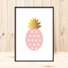 Pineapple faux gold art print