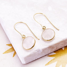 Tablet drop earrings with rose quartz