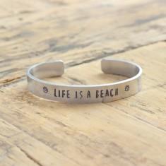 Life is a beach bracelet (various metal colours)