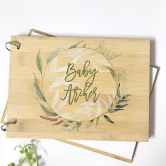 Personalised Bamboo Baby shower guest book - native wreath