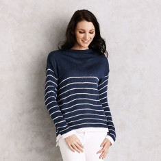 Striped Stephanie Sweater in Navy