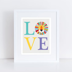 LOVE lion art print