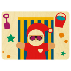 Santa on the beach wooden card