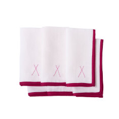 Linen napkins with pink embroidery (set of 6)