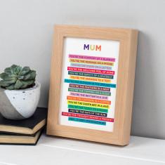 Mum Poem In Freestanding Beech Frame