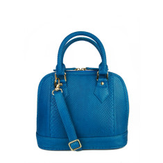 Capri blue python leather handbag