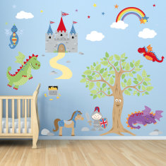 Knights and dragons fabric wall stickers