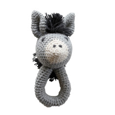 Doug the donkey knitted rattle