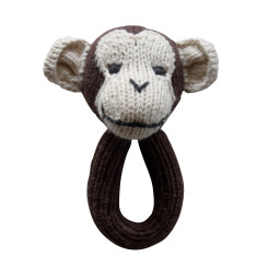 Maxwell monkey knitted rattle