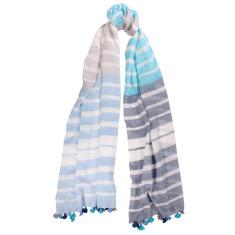 Bianca Woven Stripe Cotton Pom Pom scarf (various colours)