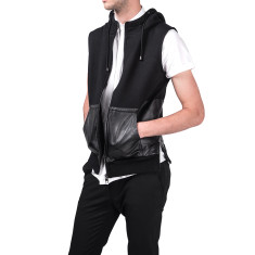 Black dimension leather sleeveless jacket
